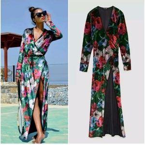 NWOT Zara Velvet Floral Kimono Wrap Maxi Dress
